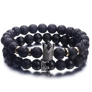 Jewelry - Couples Lava Bracelets with Crown